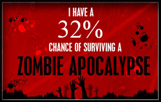 I have a 32% chance to survive a zombie attack.