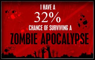 Ich habe eine 32% Überlebenschance einen Zombie-Angriff zu überleben.
